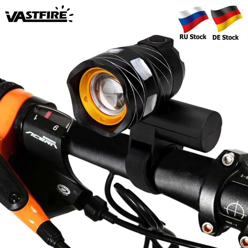 Zoomable T6 LED Bicycle Light Bike Front Lamp Torch Headlight With USB Rechargeable Built-in Battery