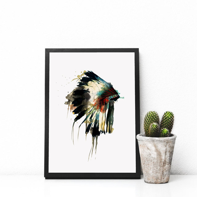 Native Indian American Headdress Art Print Feather Wall Hanging Watercolor Decor Gift