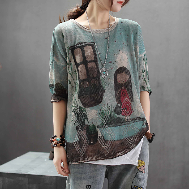 Women Summer Fashion Japan Style Vintage Graffiti Cartoon Print Linen Half Sleeve Knitted T-shirt Female Casual Loose Tee Tshirt