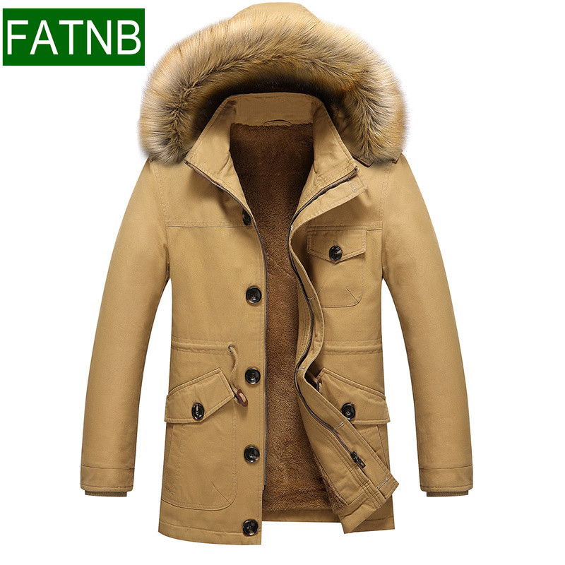 ФОТО -20 Degree Winter Hooded Jackets Mens New 2016 Warm Fur Inside Slim Fit Size M- 5XL European American Style Military Men Coats