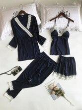 Lisacmvpnel 4 Pcsลูกไม้เซ็กซี่ชุดสปาเก็ตตี้ + เสื้อ + ชุดกางเกงแฟชั่นเซ็กซี่ชุดนอนสำหรับสตรี