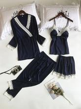 Lisacmvpnel 4 Stuks Lace Sexy Robe Sets Spaghetti Band + Vest + Broek Set Sexy Mode Pyjama Voor Vrouwen
