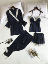 Lisacmvpnel 4 adet dantel seksi elbise setleri spagetti kayışı + hırka + pantolon Set seksi moda kadınlar için pijama
