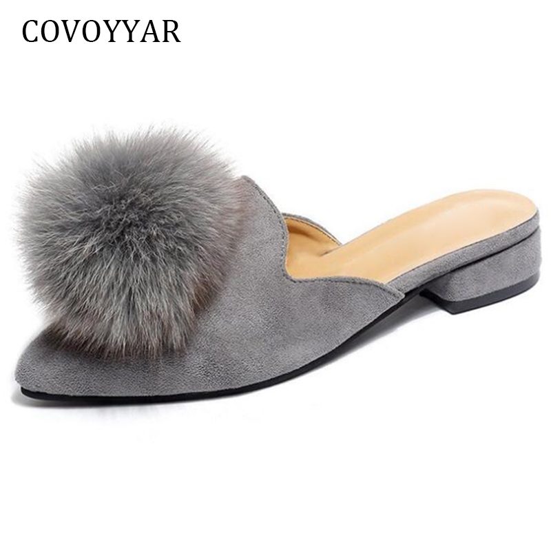 c03185ed9cc Detail Feedback Questions about COVOYYAR Cute Furry Ball Women Slippers  Mules 2019 Fashion Slingback Pointed Toe Women Slides Low Heel Women  Sandals WSL588 ...