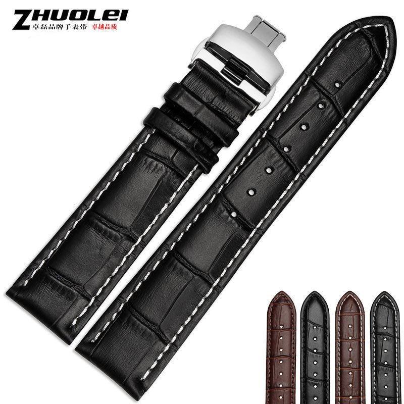 cowhide leather Watchband  16mm 17mm 18mm 19mm 20mm 21mm 22mm 24mm Soft Genuine Leather Alligator Grain Watch Band Strap Calf top fashion new arrival soft durable genuine cowhide leather men women watch strap 18mm 20mm 22mm rich color watchband