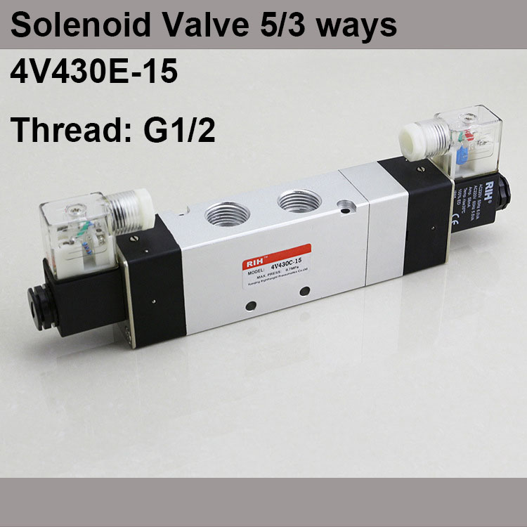 G1/2 4V430E-15 3 Position 5 Way Air Solenoid Valves Pneumatic Control Valve , DC12v DC24v AC 24V AC110v 220v флешка usb 16gb verbatim mini elements edition 49406 usb2 0 черный рисунок