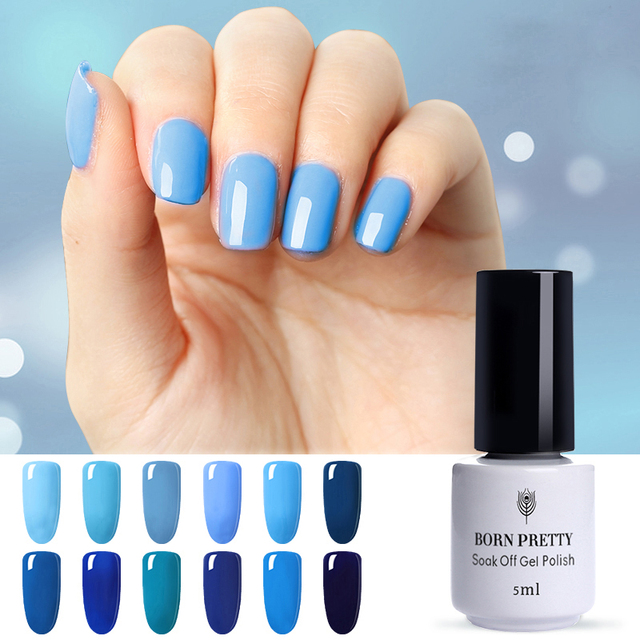 US $1.89 |BORN PRETTY 1pc 5ml Gel Nail Polish Bluesky Gel UV Nails Blue  Series 12 Colors Nail Art Set Need LED UV Lamp-in Nail Gel from Beauty & ...