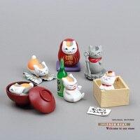 Natsume Yuujinchou Nyanko Sensei Cat PVC Figures Collectible Model Toys 6pcs Set Boxed