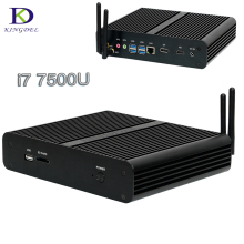 Barebone Mini PC Intel Core i7 7500U 7TH Gen kaby Lake мини настольный компьютер HDMI + DP + SD 4 К HTPC безвентиляторный NUC мини-компьютер