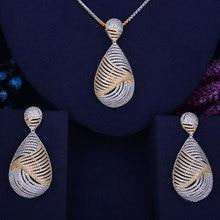 GODKI Water Drop Luxury 2 Tone Women Wedding Naija Bridal Cubic Zirconia Necklace Earring Dubai Dress Up Party Jewelry Set