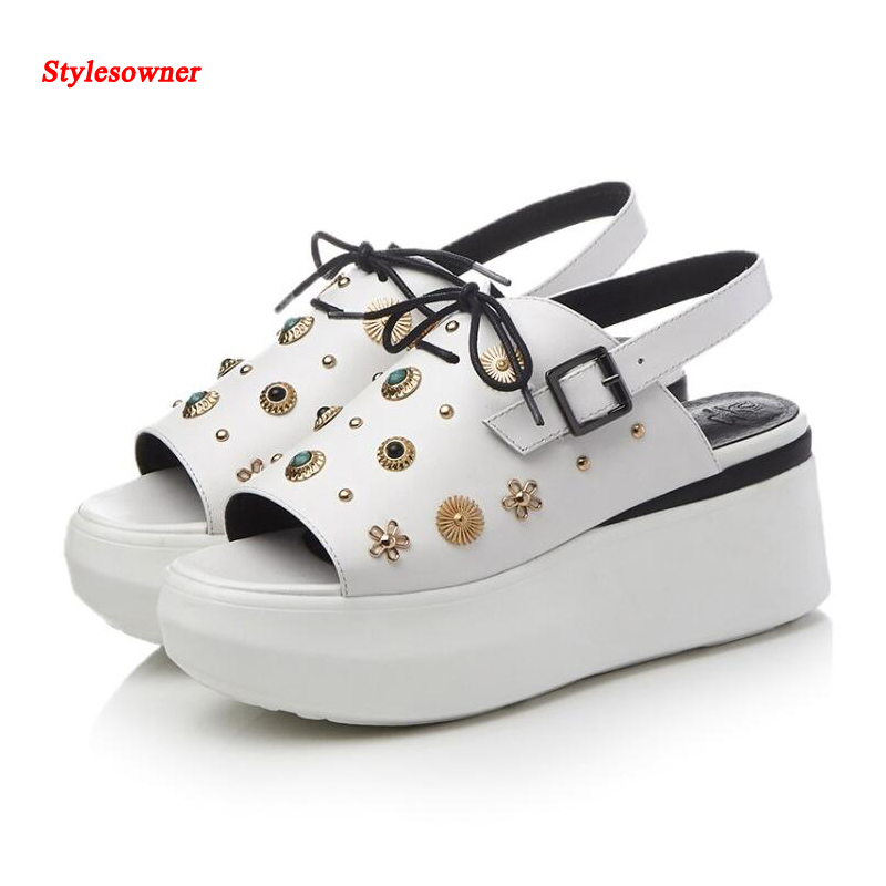 Stylesowner European New Summer Rivet Wedges muffin open toe platform sandals high heel shoes genuine leather for women 2017 2017 summer new rivet wedges sandals creepers women high heel platform casual shoes silver women gladiator sandals zapatos mujer
