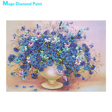 Blue Flower Vase Moge Diamond Painting Full Round still life New DIY Sticking Drill Cross Embroidery 5D simple Home Decoration