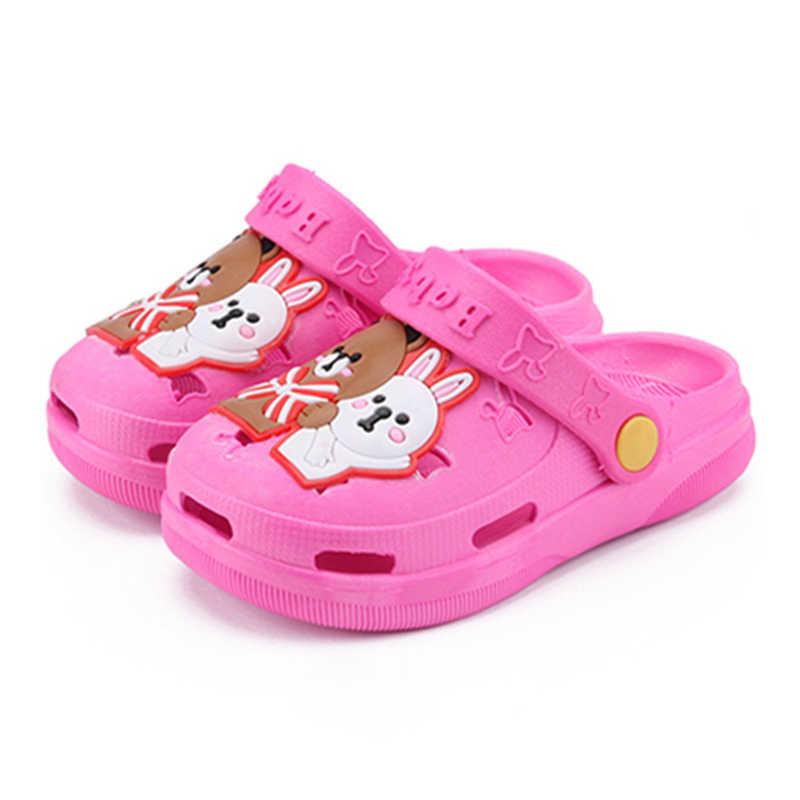 2cf0b022 Zapatillas de verano lindas de dibujos animados de playa niños zuecos  zapatos oso conejito agua antideslizante