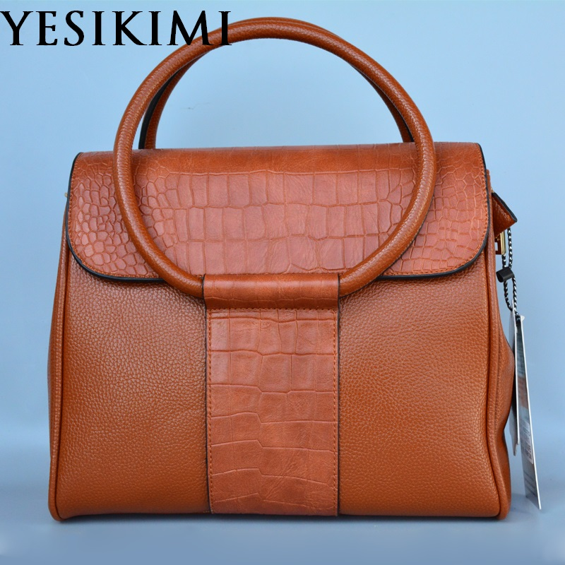 YESIKIMI Women Handbags Brown Color Litchi And Alligator Patchwork Shoulder Purse Cover Circle Handle Quality PU Leather B