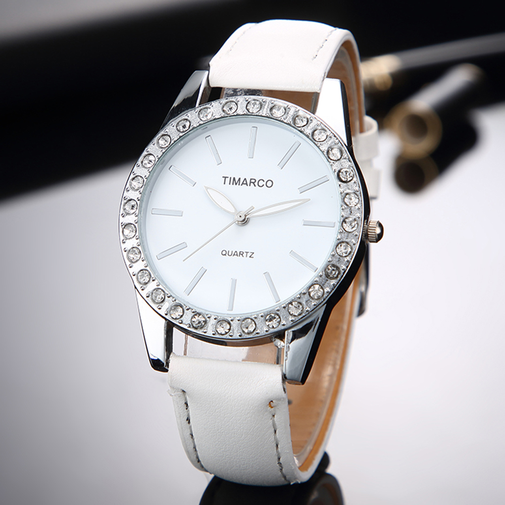2019 New Fashion White Leather Quartz Rhinestone Watches Women Top Brand Luxury Dress Clock Ladies Casual Wristwatch Reloj Mujer