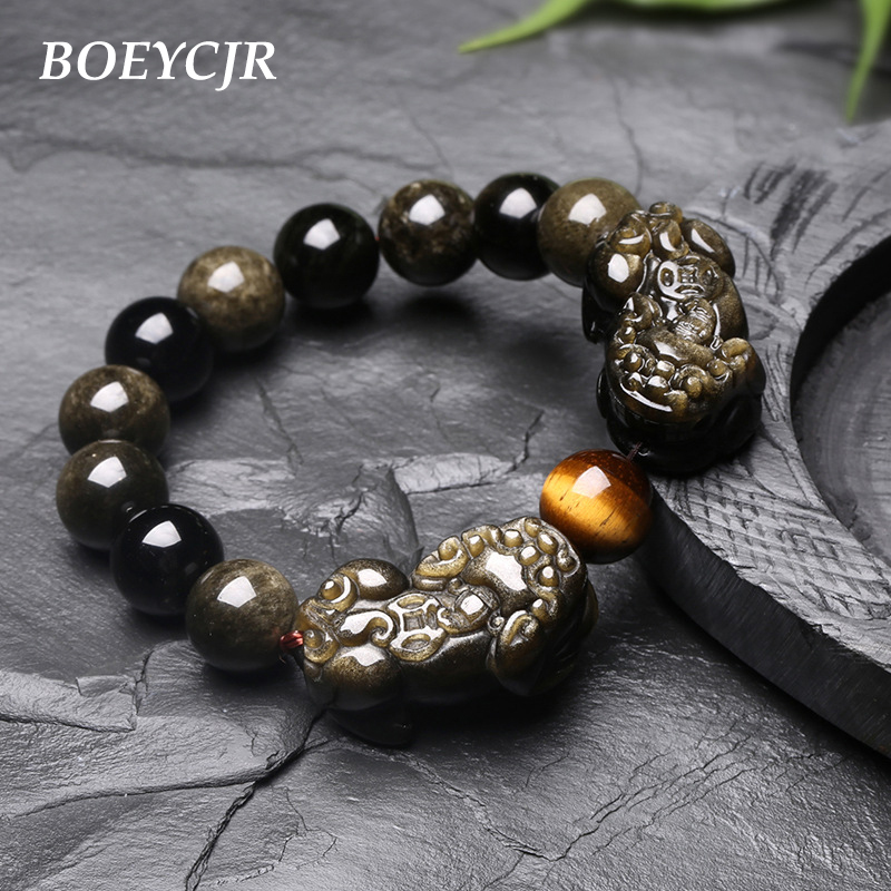 BOEYCJR Natural Black Stone Brave Troops Braided Buddhism Bead Energy Bangles & Bracelets for Men & Women Jewelry 2019