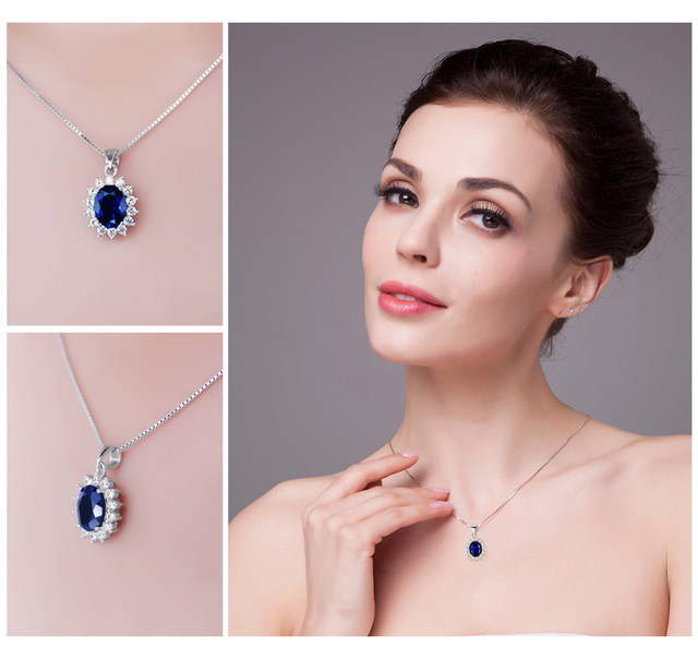 JewelryPalace Kate Princess Diana William 2.5ct Blue Sapphire Pendant 925 Sterling Silver Wedding Pendant Jewelry For Women Gift