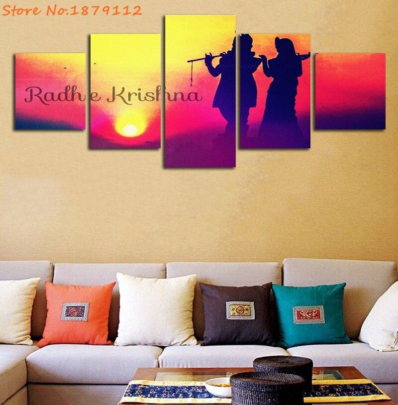 Radhe Krishna Sunset Indian Lord Abstract Painting Canvas Art ...