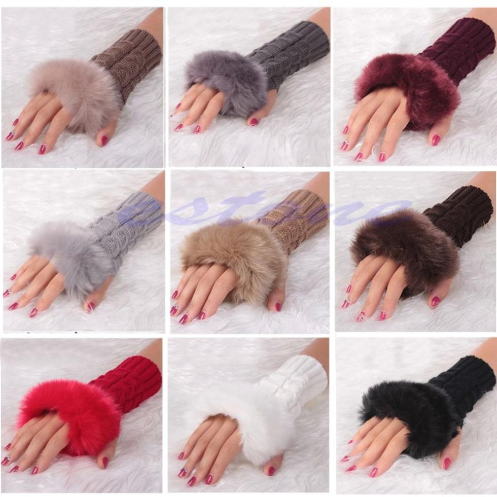 Women Knitted Fingerless Wrist Hand Arm Winter Warmer Faux Fur Gloves Mittens F05