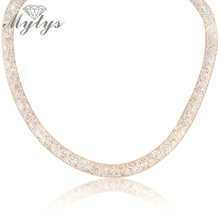 Mytys Crystal Wire Mesh Net Tube Collection Necklace Inside Crystal Wire Mesh Necklace for Women N373