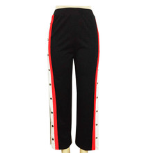 Stripe Patchwork Red White Black Rivet Side Slit Elastic Waist Casual Long Pants 2018 Summer Women Wide Leg Button  Pants c0314 plus stripe tape side wide leg pants