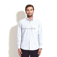 Free Shipping 2014 100 Cotton Blue Striped Slim Fit Long Sleeve Button Down Collar Latest Shirt