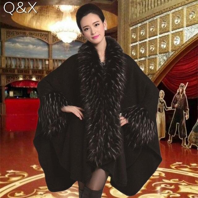 SC65 2017 High Autumn Winter Women Long Black Cardigan Fake Fox Fur Collar Cashmere Sweaters Shawl Knitted Cardigan Poncho Cape