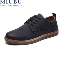 MIUBU 2019 Spring Men Casual Shoes Breathable British Leather Man Flat