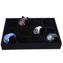 12 Cuadrículas Negro Flocado Caja de Reloj Caja de reloj de Exhibición de La Joyería caja de presentación