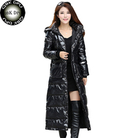 2018 New Winter Long Down Jacket Wowmen With Large Fur Collar Hood Down Coat Plus Size 4XL Overcoat Ladies Elegant Thick Outwear
