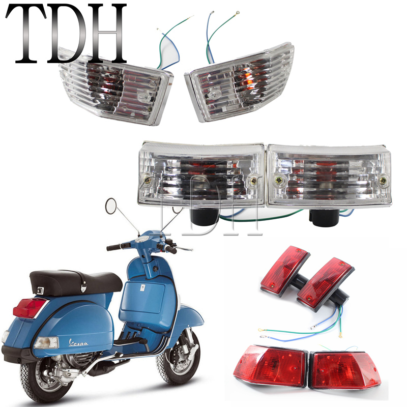 4pcs Clear Red Amber Front & Rear Turn Signal Light Indicator Bulb Blinker Flasher For Vespa P PX 150 VSX VNX Stella