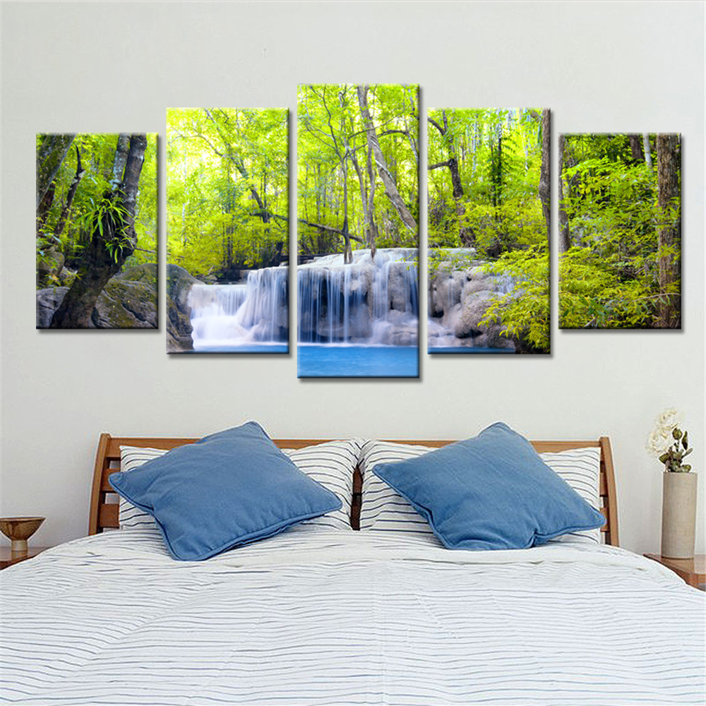 5 Pieces Kanvas Lukisan Pemandangan Gunung Gambar Dekorasi Rumah