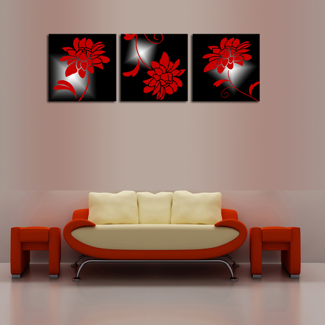 Aliexpress.com : Buy Unframed 3 Panels Red Flowers Landscape Canvas ...