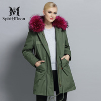 SpiritMoon 2017 Winter Jacket Women Hooded Parka Womens Fashion Windbreaker Coat Wind Coat real fur Coat New Winter Collection