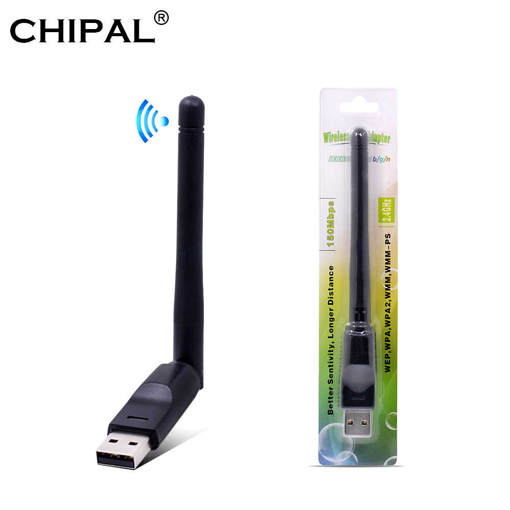 CHIPAL 150Mbps Ralink RT5370 tarjeta de red inalámbrica Mini USB 2,0 WiFi adaptador antena PC LAN WiFi receptor Dongle 802,11 b/g/n