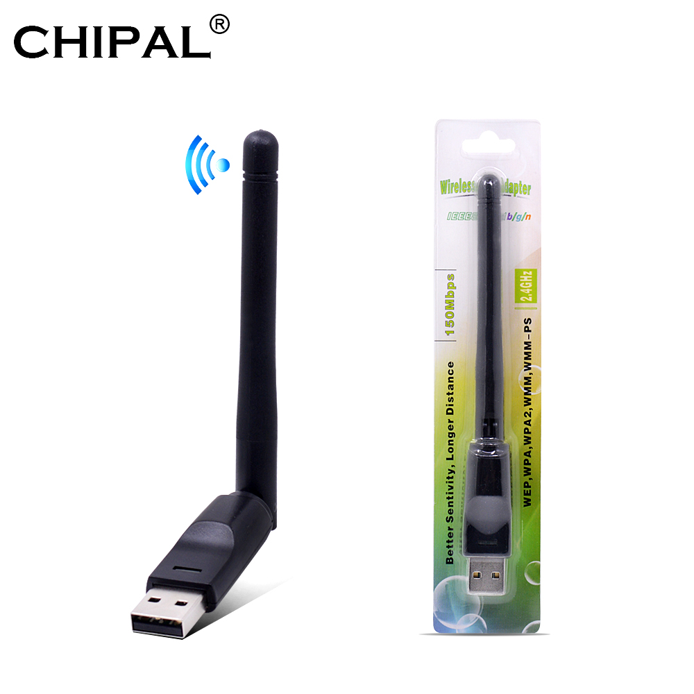CHIPAL 150Mbps Ralink RT5370 Scheda di Rete Wireless Mini USB 2.0 WiFi Adattatore di Antenna PC LAN Wi-Fi Ricevitore Dongle 802.11 b/g/n title=