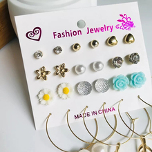 Fashion European And American Style Flower Love Pearl More Pairs Of Small Earrings Set