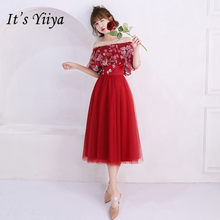 53436f4295e Es YiiYa de manga corta vestido de dama de honor apliques de cuentas vino  rojo vestidos de graduación elegante cuello barco flor.