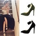 Primavera pulseira de Tornozelo Outono Bombas Mulher de Salto Alto 2016 Sapatos Ponto Do Dedo Do Pé Das Senhoras Sapatos Bombas Elegantes das Mulheres Europeia Grande tamanho Preto