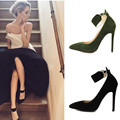 Spring Autumn Ankle Strap High Heel Woman Pumps 2016European Point Toe Ladies Shoes Elegant Pumps Women's Shoes Large Size Black