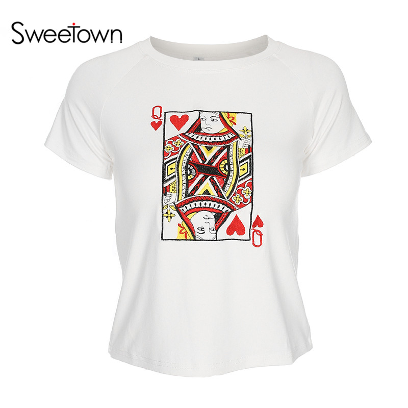 Sweetown Women Summer T Shirt New Fashion Womens Poker Cards Embroidery T-Shirt White Short Sleeve Casual Women Top Streetwear