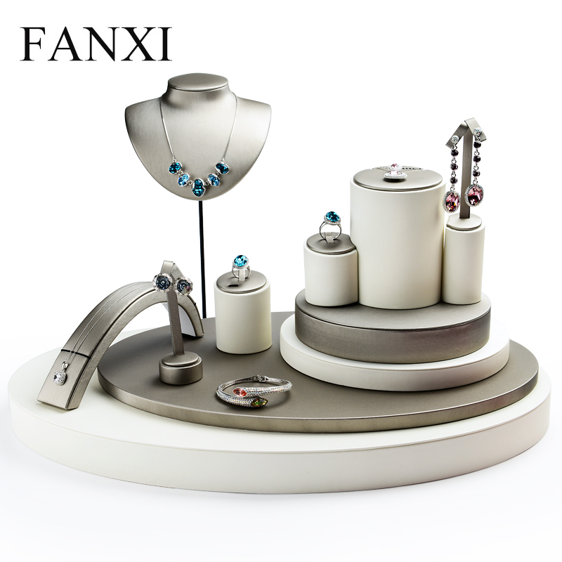 цена на FANXI DHL Express Shipping Custom Gray and Beige PU Leather Jewelry Display Set Stand for Necklace Ring Shop Counter Exhibitor