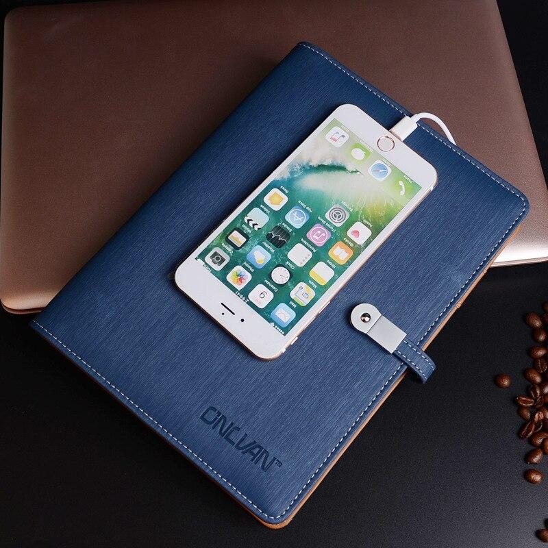 Carnet de notes en cuir d'affaires A5 Agenda en spirale Journal et clés USB et Agenda de planificateur de batterie externe carnet de notes multifonction