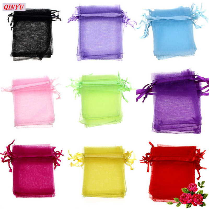 Wedding Gift Pouches: 50PCS Colorful Gift Bag Tulle Jewelry Pouches Christmas