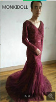 2017 Real Photo Vintage Mermaid Burgundy Evening Dress Modest V Neck Lace Appliques Beaded Gowns Best