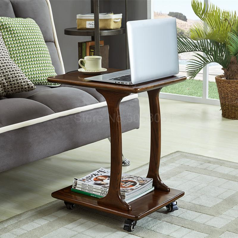Nordic side coffee table mobile wood side table simple sofa computer table bedroom bedside table
