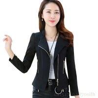 f6825bec98 Short Zipper Jacket Women 2018 Spring Autumn New Long Sleeve Blazers Women  Fashion Solid Color Slim. Zipper Jaqueta curta Mulheres ...