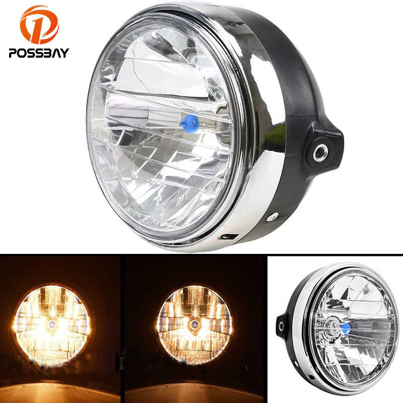 Silver C-FUNN 12V Retro Led Motorcycle Bullet White Headlights Hi//Low Beam Super Bright Light