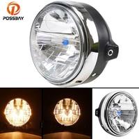 POSSABY Retro Motorcycle Headlight Head Lamp Amber Halogen Light For Honda CB400 CB500 CB1300 Hornet 250 Cafe Racer Lights