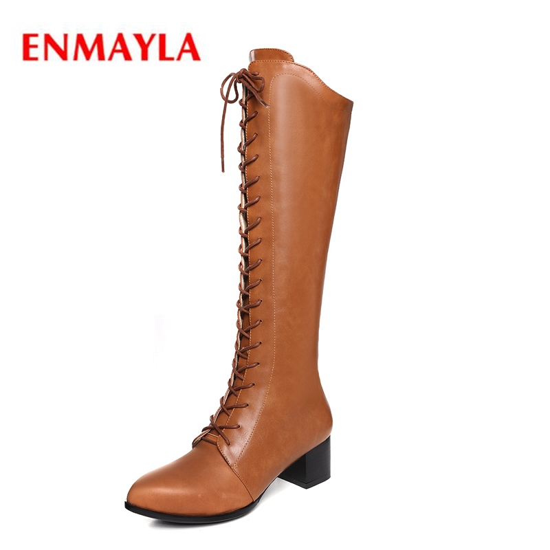 ENMAYLA Winter women pointed toe lace up knee high boots lady fashion zipper high heel boots botas mujer Big size 34-43 ZYL1153 batzuzhi 2018 handmade women shoes pointed toe 12cm long boots ladies white knee high party botas mujer winter big size 43